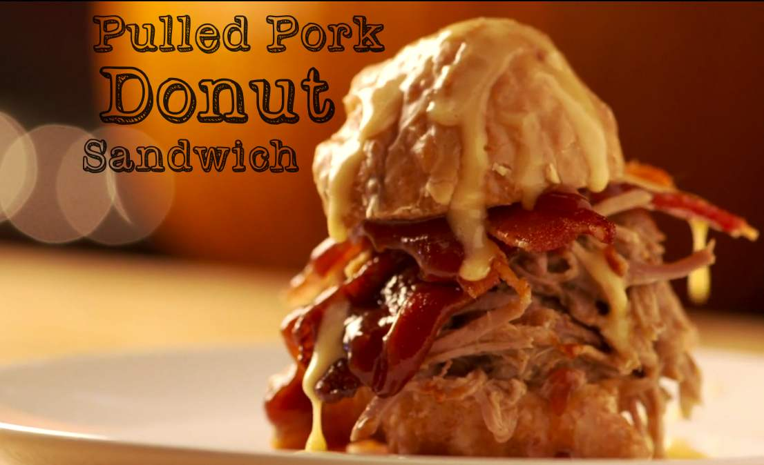 Pulled Pork Donut Slider with Candied Bacon