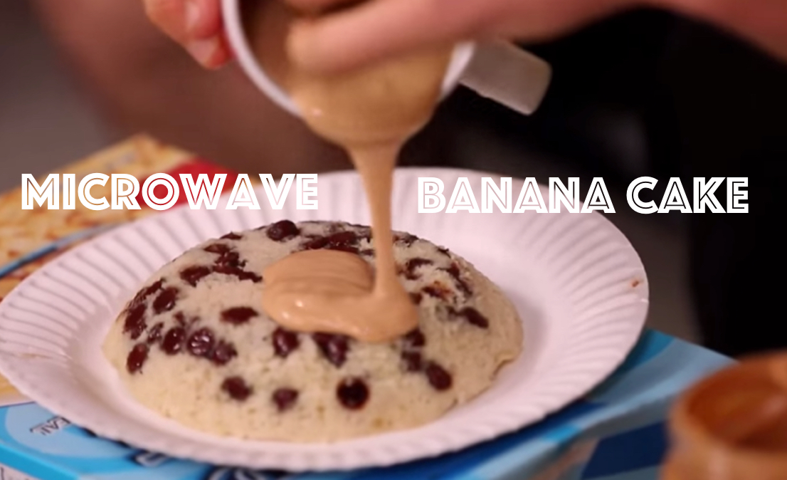 Microwave Banana Cake with Peanut Butter Frosting