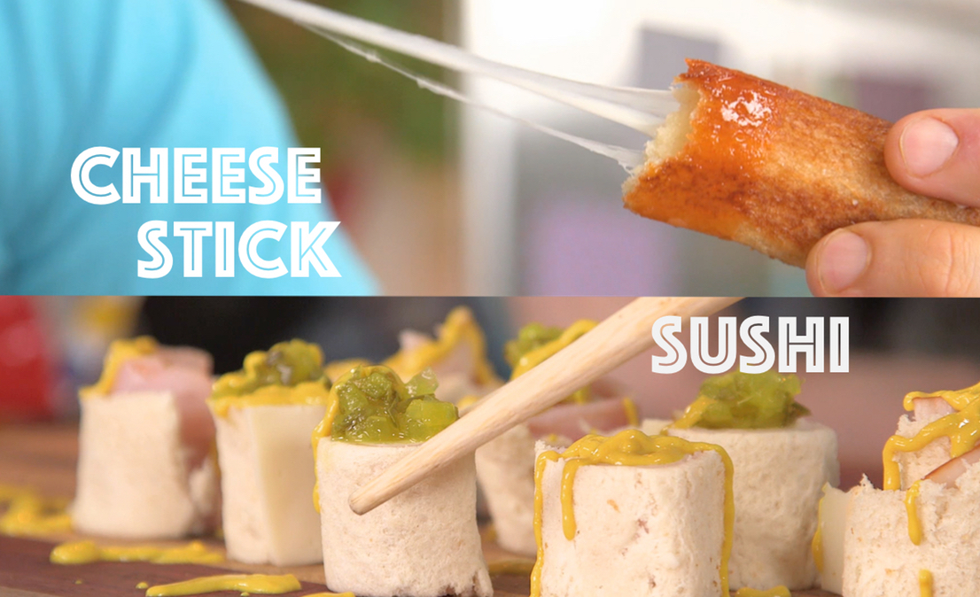 White Bread Hacks – Sushi + Mozzarella Stick