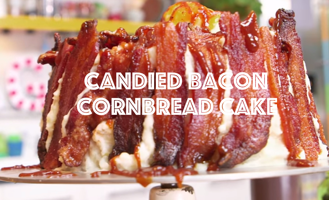 Candied Bacon Cornbread Cake with Mashed Potato Frosting